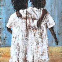 BEST FRIENDS FOREVER AFRICAN AMERICAN FOLK ART Art Prints & Posters by Larry