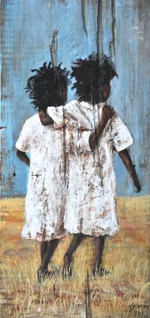 BEST FRIENDS FOREVER AFRICAN AMERICAN FOLK ART
