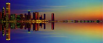 Between Night and Day Chicago skyline mirrored