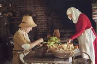 Preparing food in a Tudor kitchen