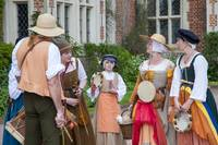 Tudor musicians outside Kentwell Hall