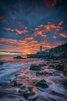 Fiery Skies Over Portland Head Light