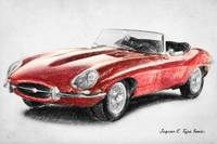 Jaguar E-Type Drawing