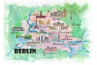 Berlin Fine Art Print Retro Vintage Map