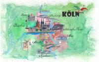 Cologne Fine Art Print Retro Vintage Map