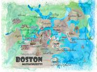 Boston Fine Art Print Retro Vintage Map