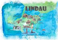 Lindau Fine Art Print Retro Vintage Map