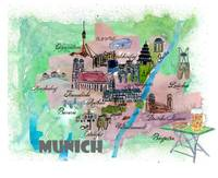 Munich Fine Art Print Retro Vintage Map