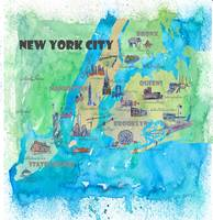New York CIty Fine Art Print Retro Vintage Map