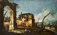 Capriccio View with Ruins of an Arch and Farmhouse