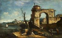 Capriccio View with triumphal Arch and Fountain ,