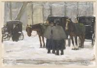 Carriages and coachmen in the snow, Floris Arntzen