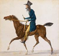 Carle Vernet A Caricature of A Frenchman on Horseb