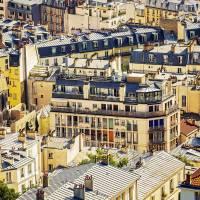 Paris Rooftops in Blue Art Prints & Posters by Katya Horner