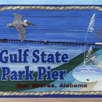Sign Gulf Shores State Park Pier Al 1604a Art Prints & Posters by Ricardos Creations