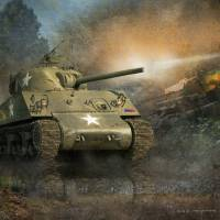 in the hedgerows-- sherman tank by r christopher vest