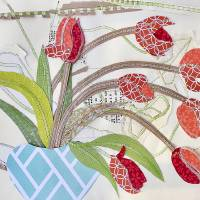 tulip in stitches FIN Art Prints & Posters by Alma Lee