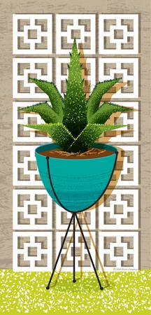 Mid Century Cactus Planter and Breeze Block