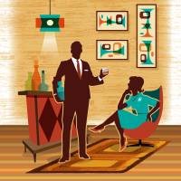 """Mid Century Modern Couple Bar Scene"" by DianeDempseyDesign"