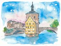 Bridge In Bamberg Bavaria with City Hall