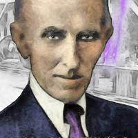 Tesla age 77 in 1933 Art Prints & Posters by Paul Simone