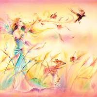 Sienna and the Deer Grace Autumn Art Prints & Posters by Michelle Tracey