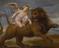Flemish School, circa 1800 CUPID RIDING A LION