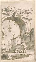 Francesco Guardi 1712-1793 Lanscape with Arch in R