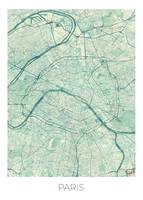 Paris Map Blue Vintage