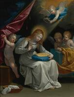 Guido Reni The Virgin Sewing, Accompanied By Four