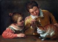 Annibale Carracci Two Children Teasing a Cat
