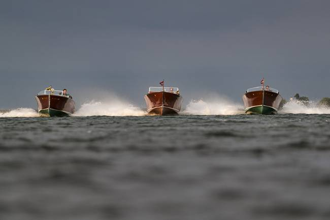 Three Abreast-Approaching Boats