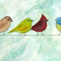 Birds on a Wire Art Prints & Posters by Caitlin Dundon
