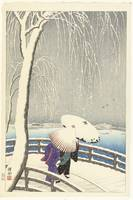 In the snow at Ueno, Ohara Koson, 1927