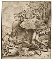 Johann Elias Ridinger A STARTLED DEER