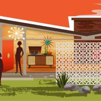 Mid Century Modern House gay women, Butterfly Roof Art Prints & Posters by Diane Dempsey