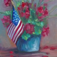 Patriotic flowers Art Prints & Posters by Marnie Bourque