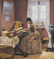 Laurits Andersen Ring , johanne wilde at her loom