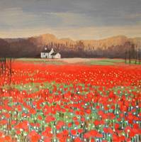 poppyfield painting-poppy art-karenjanegreen-artis