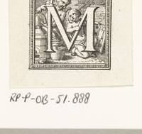 Letter M with two putti on a construction site, Be