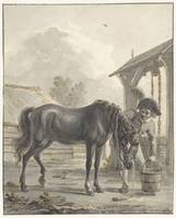 Man shows a horse drinking from a bucket, Jan Anth
