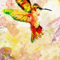 Hummingbird Modern Mixed Media Art Prints & Posters by Ginette Callaway
