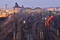 Prague Railroad Station At Dusk