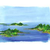 Maine Island Landscape Painting #3 Art Prints & Posters by Isabelle Dillard
