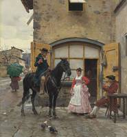 Raffaello Sorbi,  Stopping for a Drink, 1888