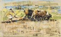 Arabs Ploughing with Bullocks, Tangiers by Joseph