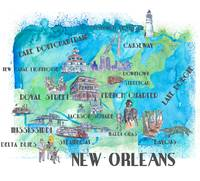 New Orleans Louisiana Favorite Travel Map