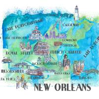 New Orleans Louisiana Favorite Travel Map Art Prints & Posters by M Bleichner