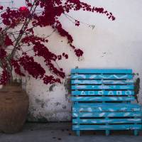 Blue Bench in Larnaca Art Prints & Posters by Rae Tucker