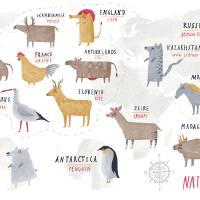 World Map of National Animals by Oi Oilikki Art Prints & Posters by They Draw & Cook & Travel